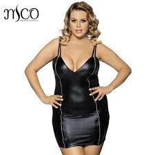 mco plus size bodycon pu leather mini dress zipper front