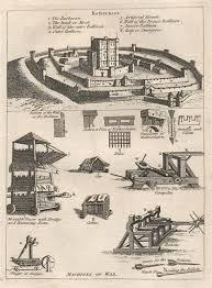siege machines and antique prints and maps castle layout siege machines