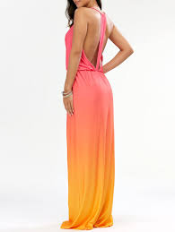 ombre maxi dress 2018 sleeveless plunge backless ombre maxi dress orange m in maxi