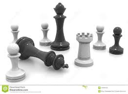 3d black and white chess pieces stock illustration image 43040753