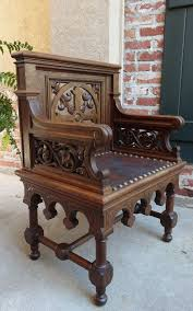 Kissing Chairs Antiques Antique French Gothic Revival Altar Bishop Chair Carved Tiger Oak