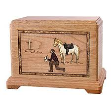 Urn Table L Wood Cremation Urn Oak Cowboy Kneeling At Cross