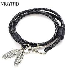 chain bracelet with leather images Niuyitid black pu leather men bracelet silver feather accessories jpg