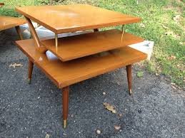 mid century end table three tiered mid century modern end table attainable vintage