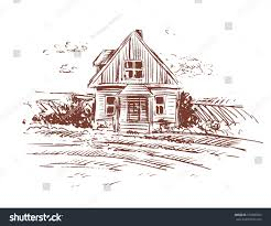 old farm house drawing stock vector 576900967 shutterstock