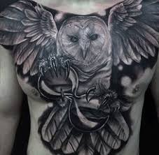 70 owl chest tattoo designs for men u2013 nocturnal ink ideas black