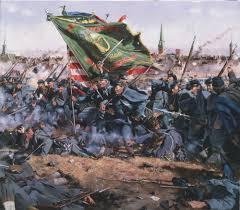 Civil War Battle Flag Written On Plaque