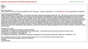 finance analyst offer letter