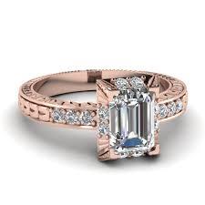 antique rose rings images Emerald cut diamond elegant emerald vintage ring in 14k rose gold jpg