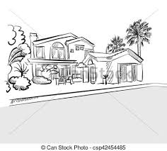 house drawings sketch house among palm trees vector search clip
