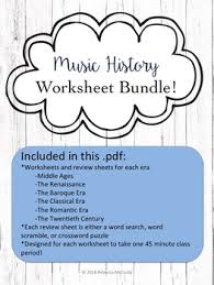 music history worksheets and review sheets bundle all 6 eras