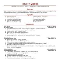 Exles Of Server Resume Objectives Sle Server Resume For Food Restaurant And Resume Template