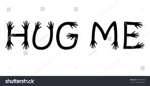 hug me written hand ending letters stock vector 309182708