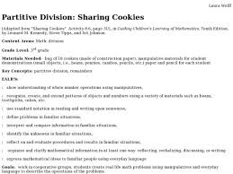 partitive division sharing cookies 3rd grade lesson plan lesson