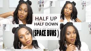 tutorial half up half down space buns on short hair sew in