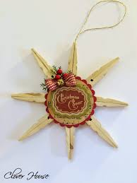 clover house clothespin snowflake ornament