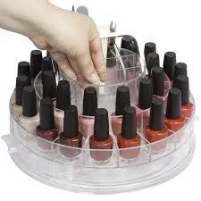 spinning nail polish organizer in nail polish storage