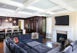 Coffered Ceiling Lighting by Coffered Ceiling Family Room Family Room Traditional With Open