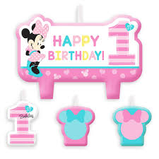 1st birthday candle minnie mouse 1st birthday candle set shopdisney