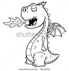 vector illustration cartoon dragon fire coloring stock vector