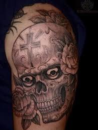 sugar skull on shoulder