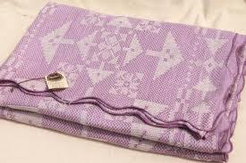 Summer Coverlet 1940s Vintage Lavender Floral Bedspread Summer Weight Cotton Coverlet
