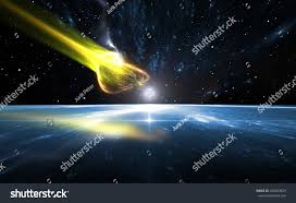 sombrero galaxy planets falling comet blue planet earth illustration stock illustration