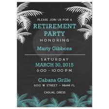 retirement invitations palm tree tropical chalkboard retirement party invitation