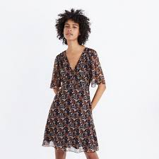 flutter style dress orchard flutter sleeve dress in prairie blossoms day to night