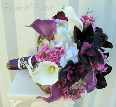 Silk Wedding Bouquet Wedding Bouquet Bridal Bouquet Plum Purple Calla Lily