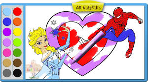 color spiderman elsa heart coloring learn colors