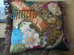 bohemian gypsy hippie home decor ethnic crazy quilt beaded cushion