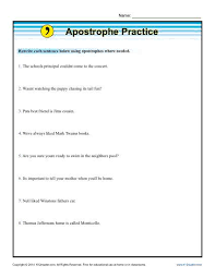 apostrophe practice worksheets sentences and the sentence