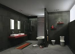 attractive 1 bathroom with dark floors on black tile flooring in