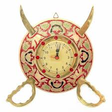 designer wall clocks online india buy little india rajasthani real brass sword armour wall clock