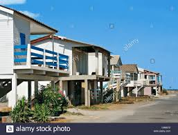 france aude gruissan beach houses on stilts stock photo