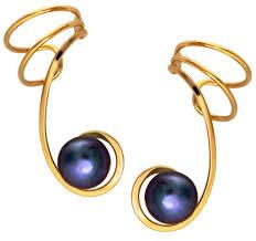 non pierced earrings peacock black pearl ear cuff earring wraps non pierced gold