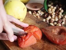 cuisiner le coing mousse noisette et coing caramelisé cosmic tomatoes