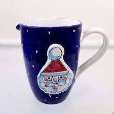 christmas santa claus pitcher vintage blue hand painted ceramic
