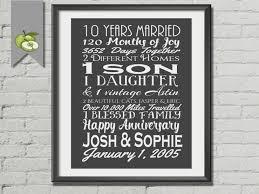 ten year anniversary gifts 10 year anniversary gift print wedding anniversary gifts for 10