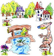 dessin du furet qui demande son chemin à la grenouille de la