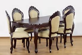 rococo dining chair mahogany wood elaborate carving frame