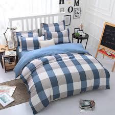 Comfortable Bed Sets Simple Lattice Comfortable Bedding Set Moden Duvet Cover Bed Set