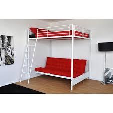 lit en hauteur avec canapé lit mezzanine clic clac en métal blanc mizzo achat vente lit