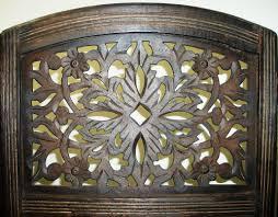 rajasthan antique brown 4 panel handcrafted wood room divider