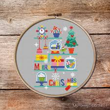 christmas cross stitch cross stitch christmas ornaments modern