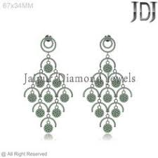 Designer Chandelier Earrings 925 Sterling Silver Pave Chrome Diopside Designer Chandelier