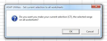 asap utilities for excel select set current selection to all