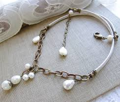 elegant pearl necklace images Elegant pearl necklace white freshwater pearls antiqued brass jpg