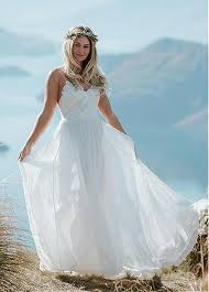 flowing wedding dresses buy discount flowing tulle chiffon spaghetti straps a line